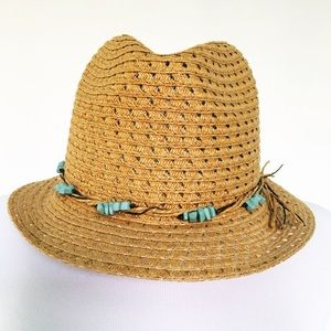 Accessories - Turquoise Beaded Straw Summer Hat